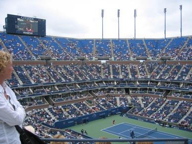 アーサー・アッシュ・スタジアムから見下ろした会場です。各コードでも試合が... ニューヨークを眺